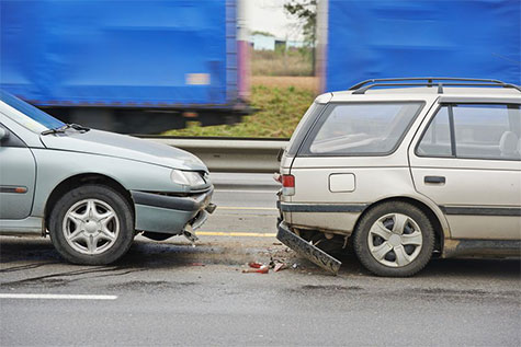 Low-impact rear-end collision auto accident