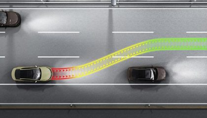 Car collision avoidance system illustration