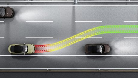 Car collision avoidance system illustration