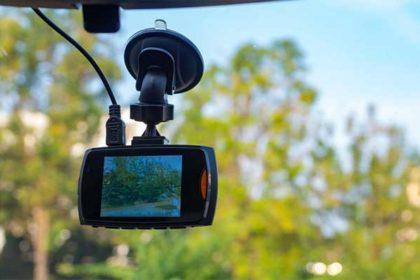Dashcam on car front windshield