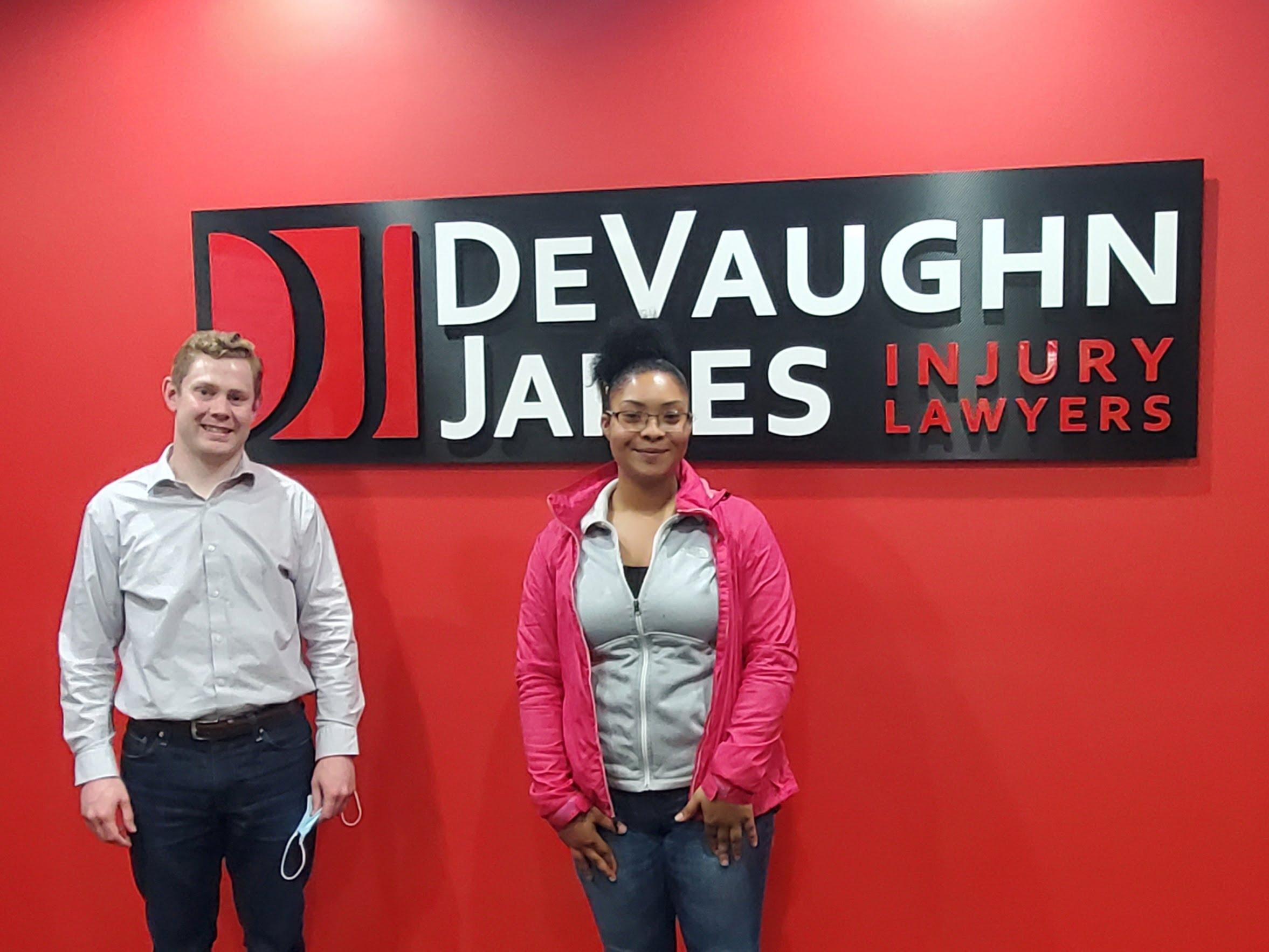 Attorney Shawn Aldrich with client N.W.