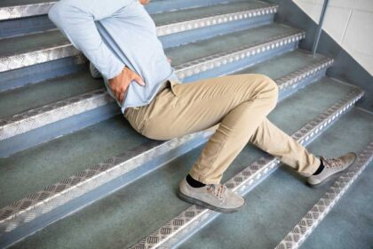 Adult male slipped and fell down stairs at the store